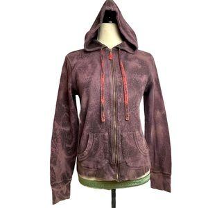 Customized Brown & Purple Tue Dye Zip Up Hoodie L